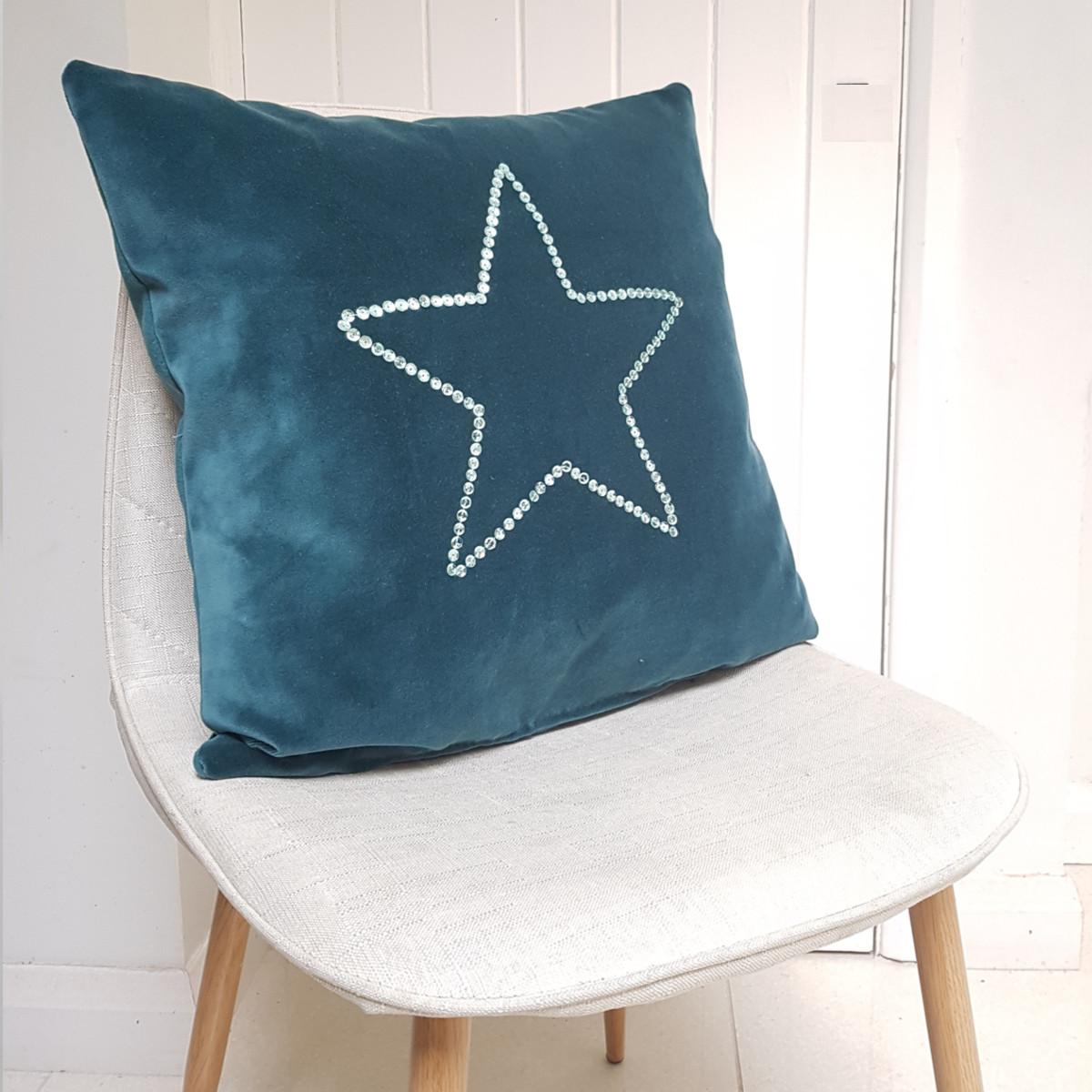 Blue Velvet Sparkly Star Cushion Delaney Designs